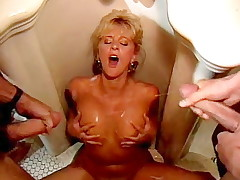 2 vintageporn young men orgasm on bimbo's undressed boobs