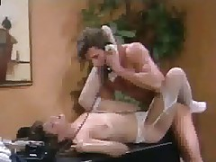 Christy Canyon in stockings screwed on desk