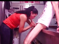 Employees Fuck In The Kitchen On The Job
