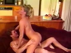 Bosomy female working up piston