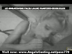 Delicious sexy blonde girl with large tits doing blowjob