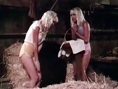 Two blond girls get caught in the rain so they run into an old shed to get dry First they find a blanket to lie down on and then they take their wet clothes off. The start rubbing themselves and every other, ending up in a 69 position licking every others p