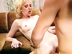 Meagre blonde fucks a producer of classic xxx film