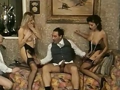 Two awesome sluts in vintage orgy porn