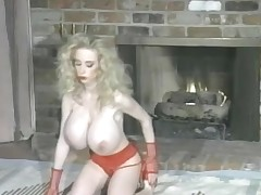 Sweet red lipstick and huge fake knockers on slut