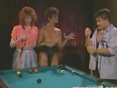 Threesome fuck on a pool table