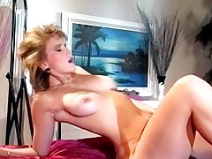 Chic blonde nude and riding dong
