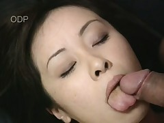 Beautiful Asian Mayu nearly gags on this throbbing long dick