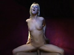 Skinny blonde chick with a great booty gets fingered and fucked
