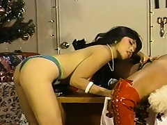 Santa's gorgeous lesbian helpers eat each other's wet pussies