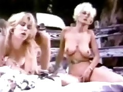 A guy and two girls arrive at a quiet spot in the countryside in their pickup truck. They get into the back, widen out a blanket on the floor and start to fuck each other. While one girl is being screwed the other one is caressing her.