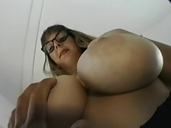Big tit geek receives hers