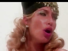 Hefty blonde copulates with guy
