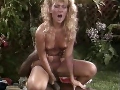Very hawt black chap loves licking a juicy blonde retro cunt
