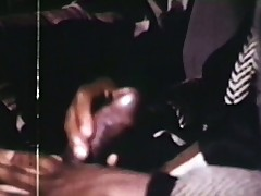 Old fashioned porno shows interracial actors fucking after a show