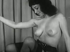 Vintage Brunette Strip Tease - Black and white scones