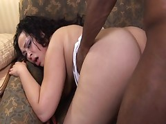Fat ebony girl gets black cock pounded